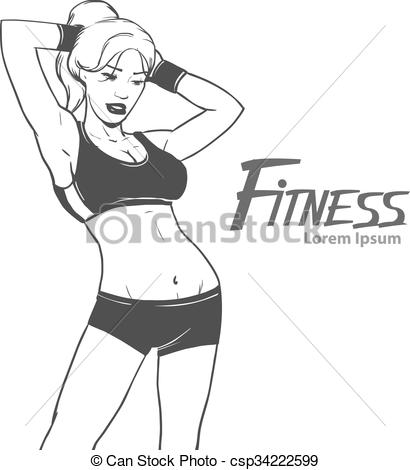 410x470 Fitness Girl Body. Simple Illustration With Beautiful Young