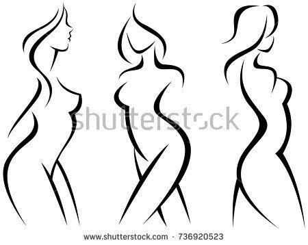 450x358 Set Of Stylized Silhouettes Woman Bodystock Vector Illustration