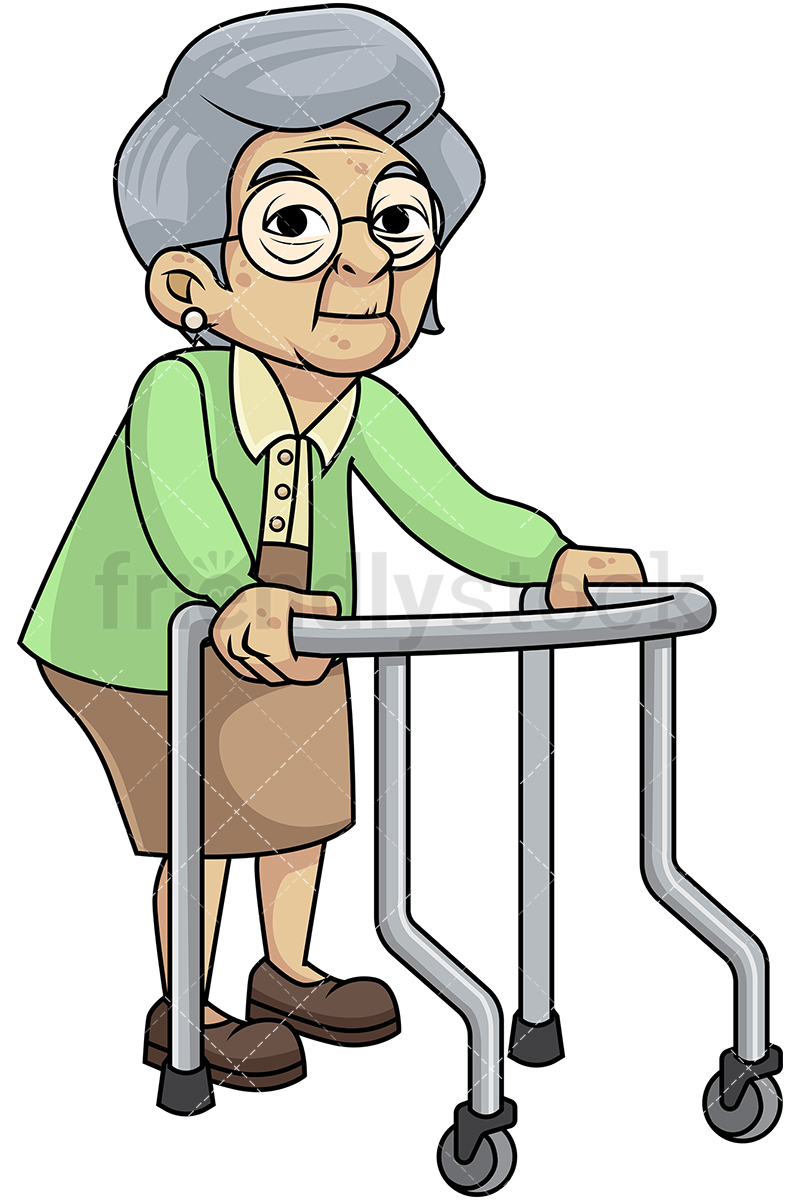 800x1200 Frail Old Woman With Walker Cartoon Vector Clipart