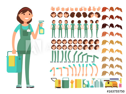 500x375 Cleaning Company Employee. Woman Cleaner Vector Character