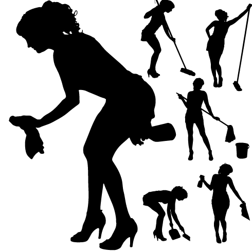 490x490 Creative Cleaning Woman Silhouette Design Vector 01 Free Download