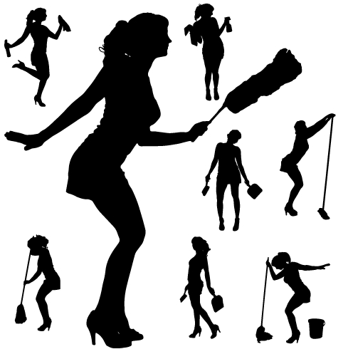 496x497 Creative Cleaning Woman Silhouette Design Vector 04 Free Download