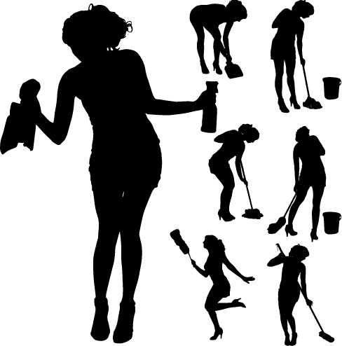 488x494 Creative Cleaning Woman Silhouette Design Vector Free Vector In