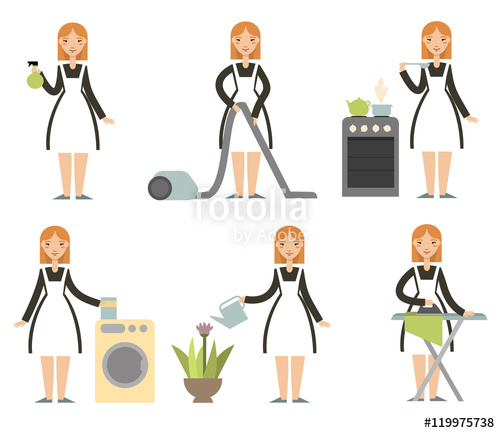 500x433 Housewife Set. Cleaning Cartoon Lady. Cartoon Character
