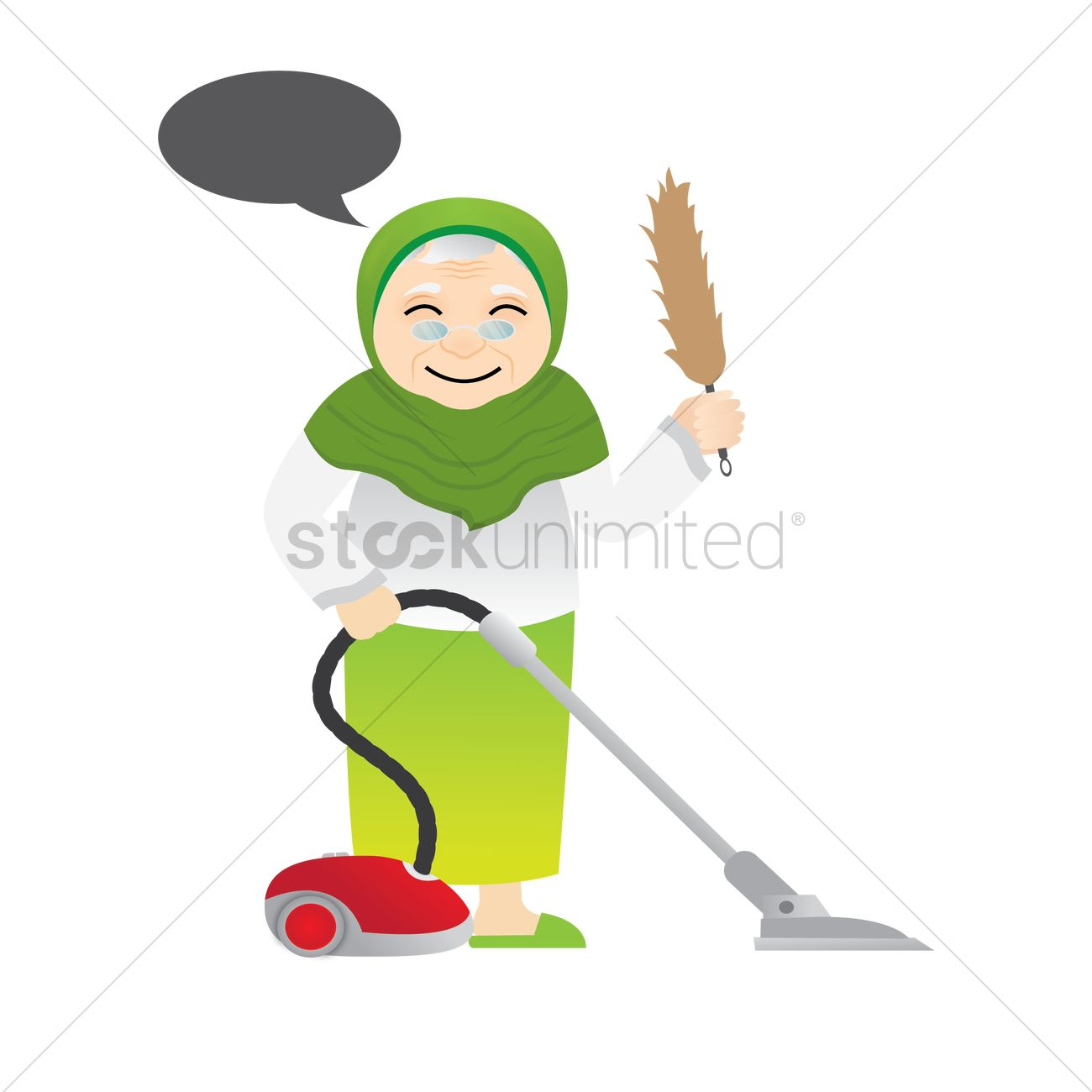 1300x1300 Muslim Woman With Vacuum Cleaner Vector Image