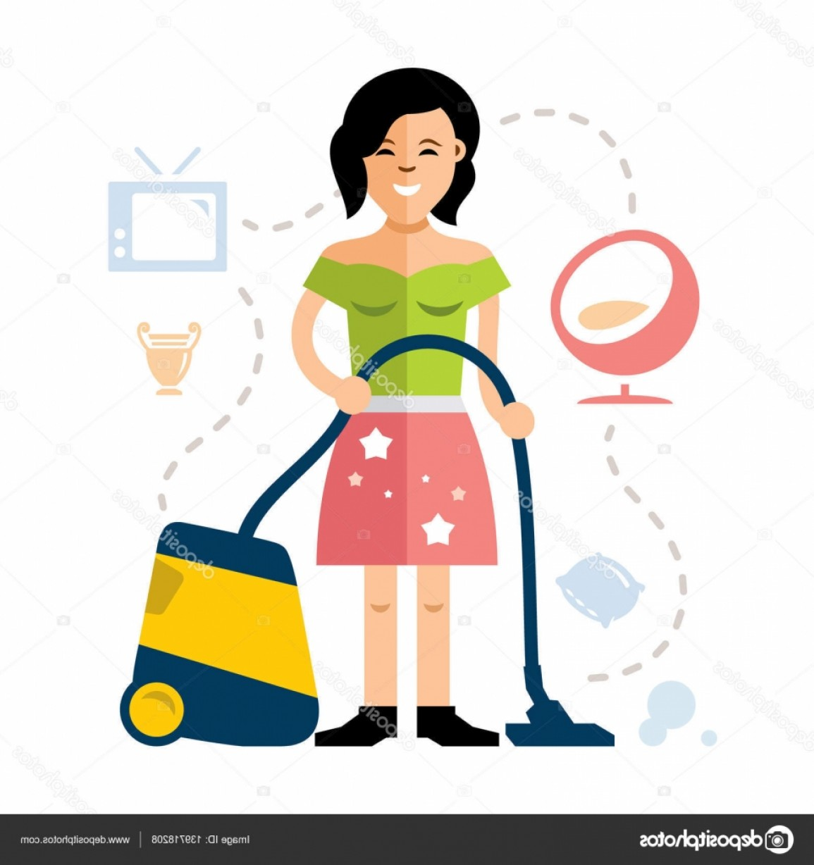 1155x1228 Stock Illustration Vector Young Woman Cleaning With Sohadacouri