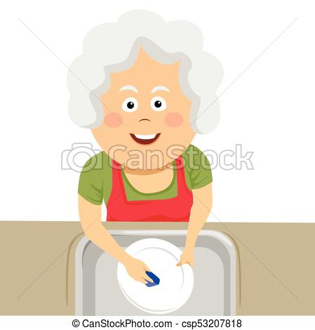 449x470 Top View Of Elderly Woman Cleaning The Dishes With A Sponge