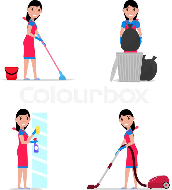 725x800 Vector Illustration Of A Set Cartoon Girl Cleaning. Isolated White