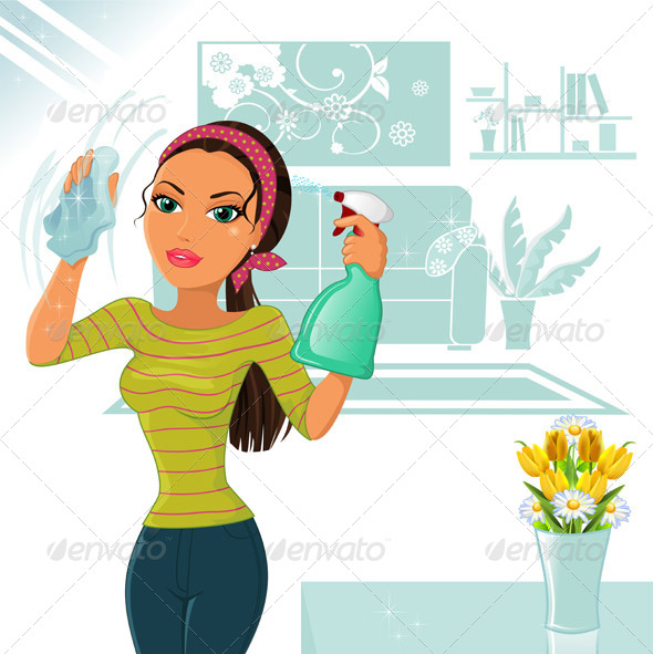 590x591 Woman Cleaning By Iostephy Graphicriver
