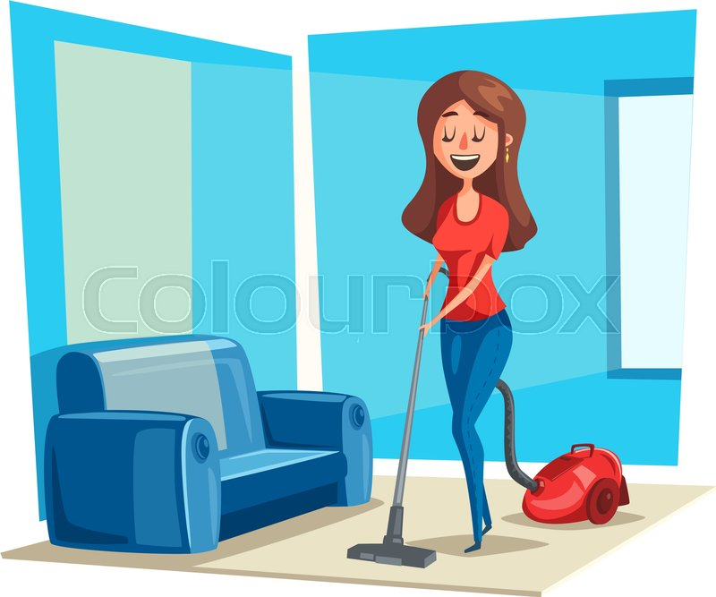 800x667 Woman Cleans Room Floor With Vacuum Cleaner. Vector Poster Of