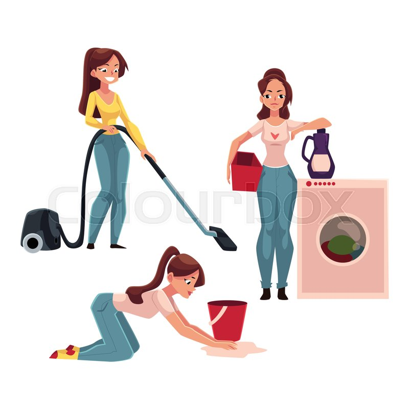 800x800 Young Woman, Housewife Doing Chores