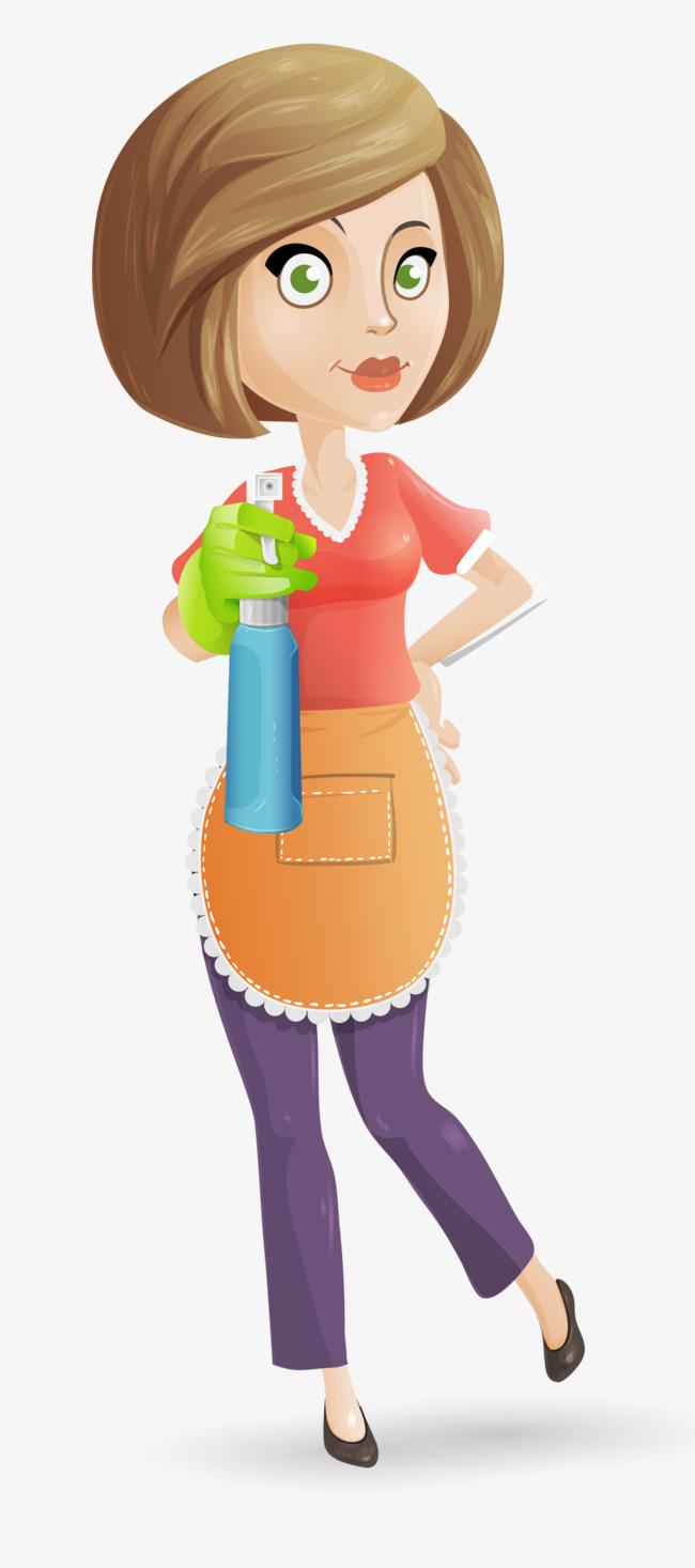 650x1467 Cartoon Short Hair Cleaning Woman, Woman Clipart, Cartoon Woman