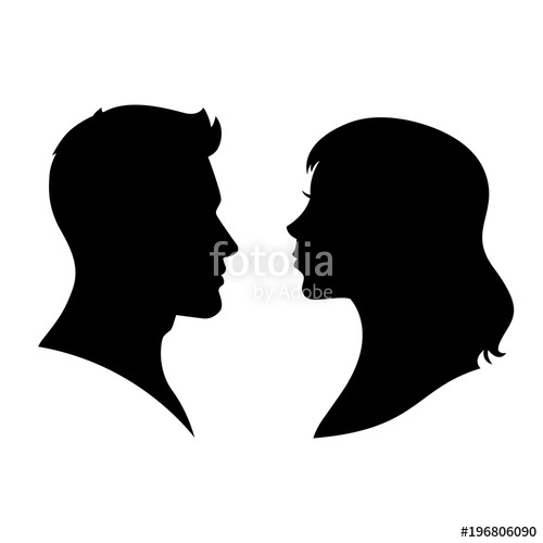 500x500 Man And Woman Silhouette Face To Face Vector Stock Image And
