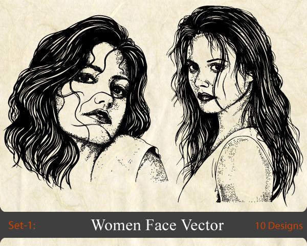 600x482 Women Face Vector Set 1 Vector Amp Photoshop Brushes Stock