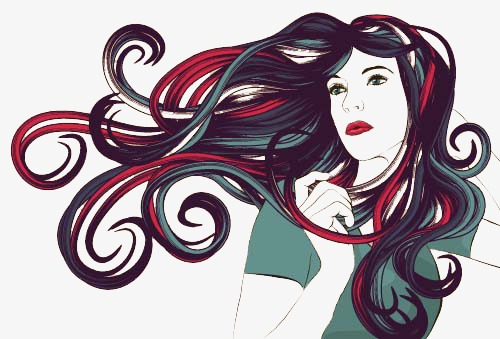 500x339 Painted Women, Long Curly Hair, Vector, Female Png And Vector For