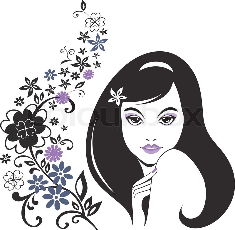 800x784 Young Girl With Long Hair And Floral Pattern Stock Vector