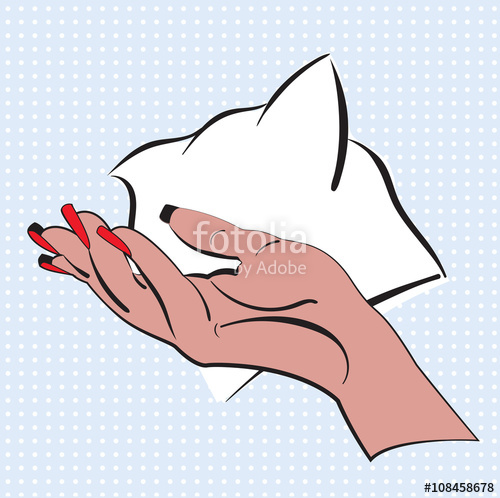 500x498 Hand With Bright Red Nail Polish Made In Style Pop Art. Woman Hand