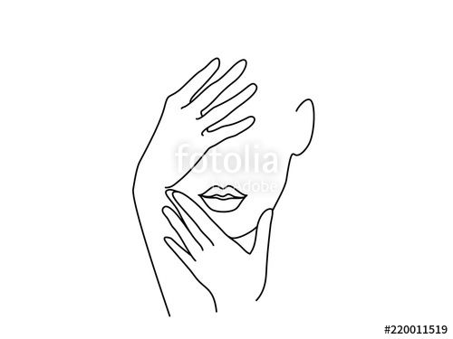 500x375 Line Drawing Art. Woman Face With Hands. Vector Illustration