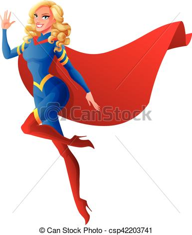385x470 Beautiful Sexy Superhero Woman Flying And Waving Hand. Vector