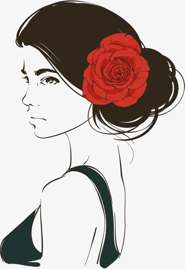 650x946 Simple Hand Painted Woman Portrait, Hand Vector, Woman Vector