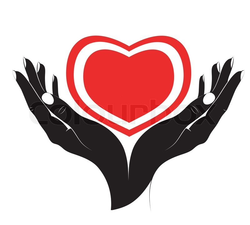 800x720 The Silhouette Of Heart In Female Hands Stock Vector Colourbox
