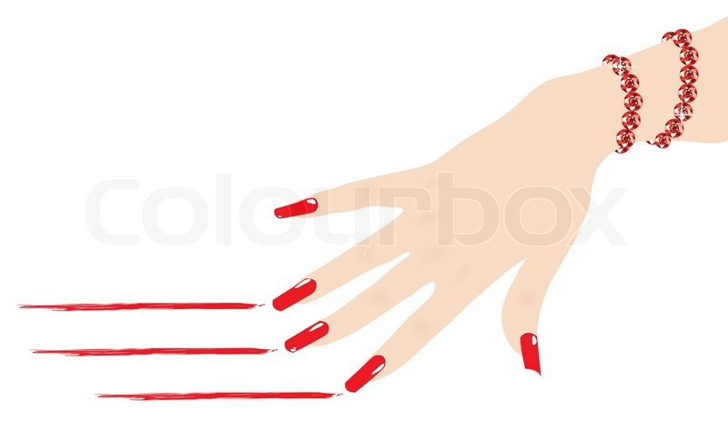 800x463 Woman Hand With Ruby Bracelet Scratching Red Lines, Vector Stock