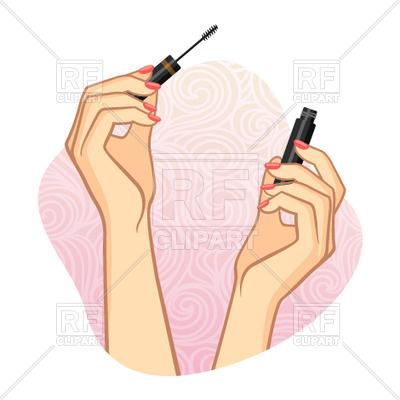 400x400 Woman Hands Using Cosmetic ( Mascara )