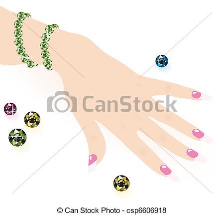 450x431 Green Emerald Bracelet On Woman Hand, Vector.