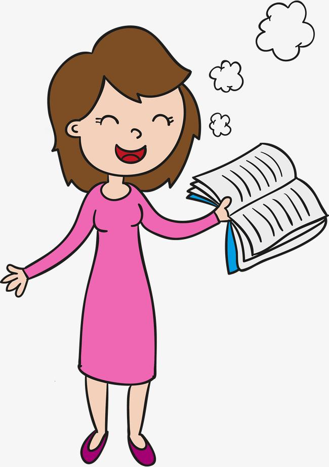 650x922 Hand Drawn Female Teacher With A Book Vector, Teacher Clipart