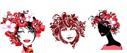 530x224 Female Head Pattern Free Vector Download (21,547 Free Vector) For
