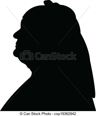 388x470 Old Muslim Lady Head With Scarf, Silhouette Vector.