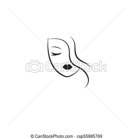 450x470 Stylized Face Of Woman. Linear Female Head With Closed Eyes, Long