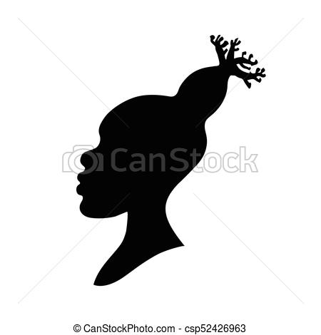 450x470 Vector Illustration Of African American Woman Head Silhouette With