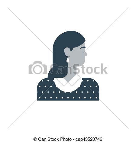 450x470 Woman Side View, Turned Head. Elegant Female Character. Woman Head
