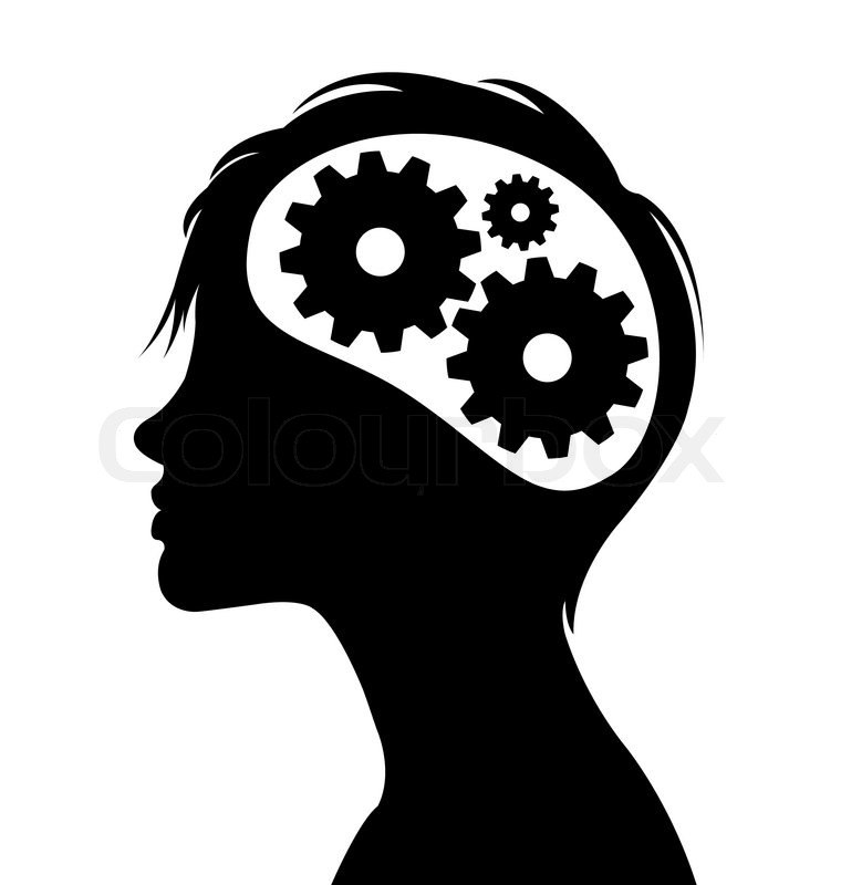 760x800 Woman Silhouette With Thinking Brain Gears In Her Head Stock