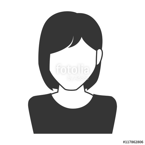 500x500 Woman Girl Female Person Short Hair Face Head Human Vector Graphic