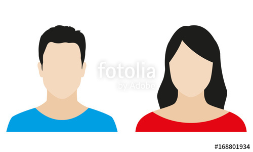500x300 Man And Woman Avatar Profile. Male And Female Icon. Vector