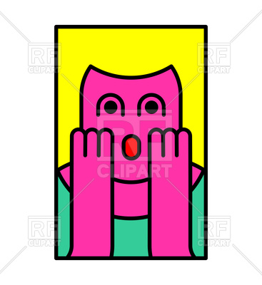 367x400 Oh My God Emotion. Surprised Woman Icon. Vector Image Vector
