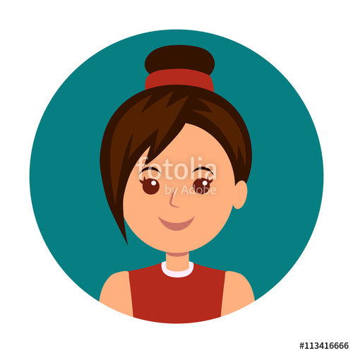500x500 Avatar Girls Icon Vector. Woman Icon Illustration. Portrait Of A