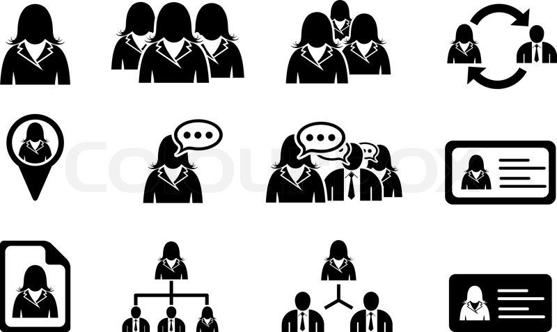 800x477 Woman Management Icons Stock Vector Colourbox