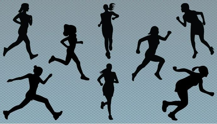 690x396 Silhouette Of Women Jogging Vector Graphics Is A Perfect Vector