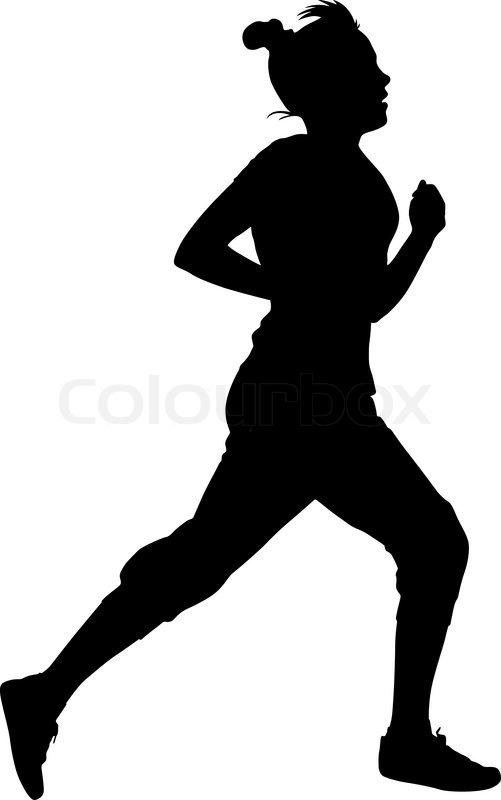 501x800 Silhouettes. Runners On Sprint, Women. Vector Illustration