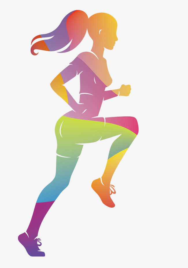 650x924 Vector Colorful Women Sports Runners, Sports Clipart, Vector