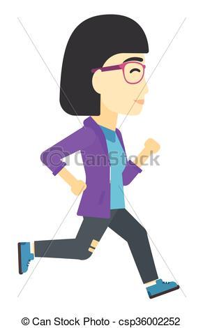291x470 Business Woman Running. An Asian Business Woman Running Vector