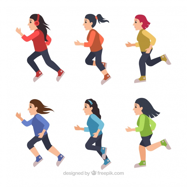 626x626 Colored Pack Of Six Women Running Vector Free Download