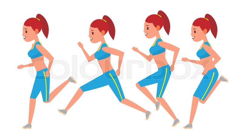 800x450 Female Running Vector. Animation Frames Set. Sport Athlete Fitness