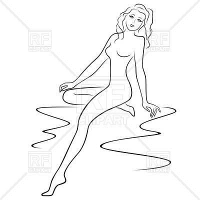 400x400 Abstract Young Woman Sitting And Posing Half Turn Vector Image