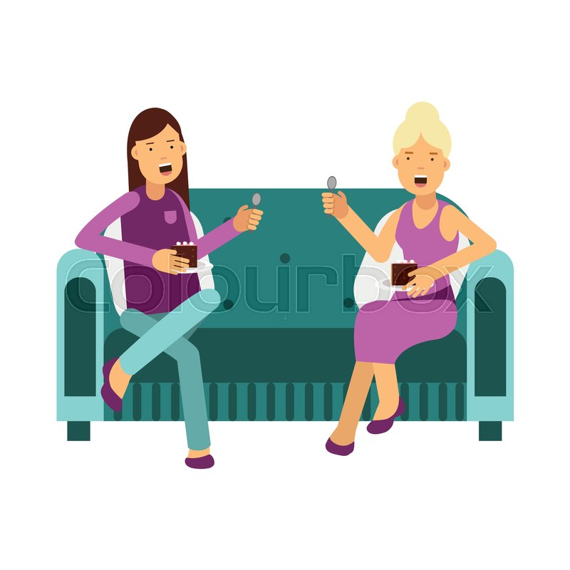800x800 Two Women Sitting On A Sofa Talking And Eating A Cake Vector