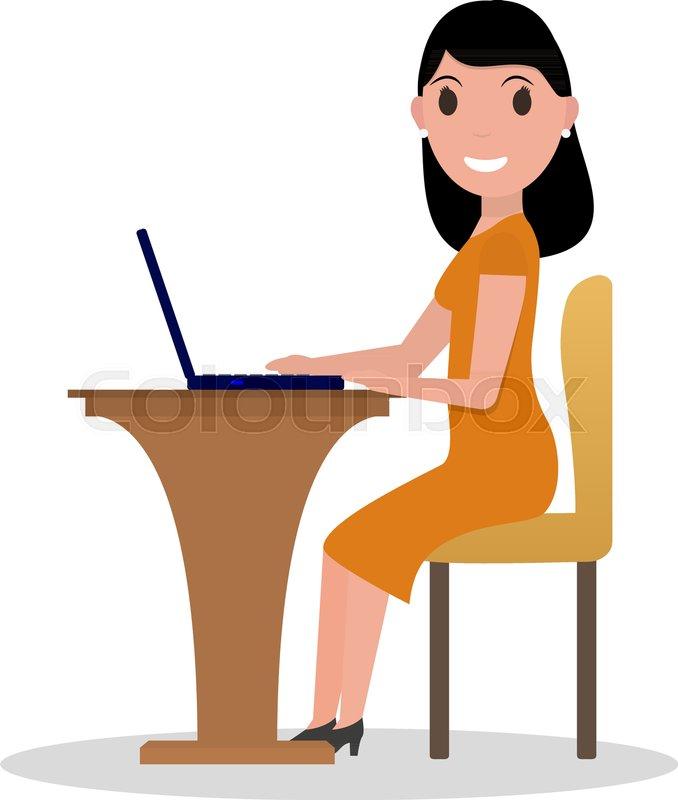 678x800 Vector Illustration Of A Cartoon Woman Sitting