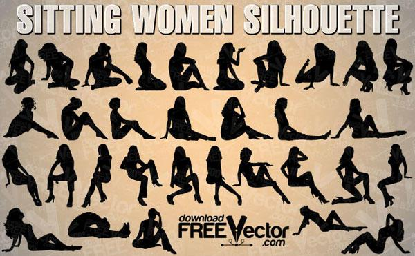 600x371 Woman Sitting Silhouette Vector Free 123freevectors